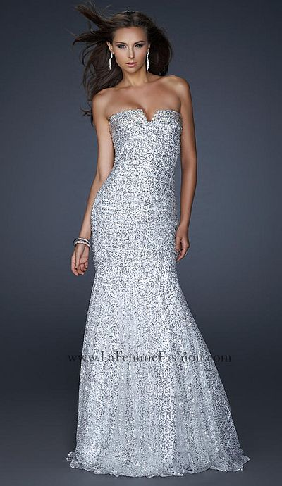 La Femme Light Silver Form Fitting Prom Dress 17103