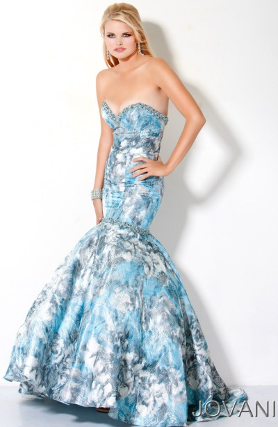 Jovani Blue Floral Ball Gown Prom Dress 173325 French Novelty