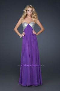La Femme Sequin Bust Loose Fitting Chiffon Gown 17461 ...