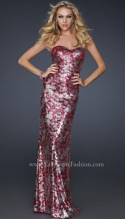 La Femme Sexy Form Fitting Two Tone Sequin Prom Dress