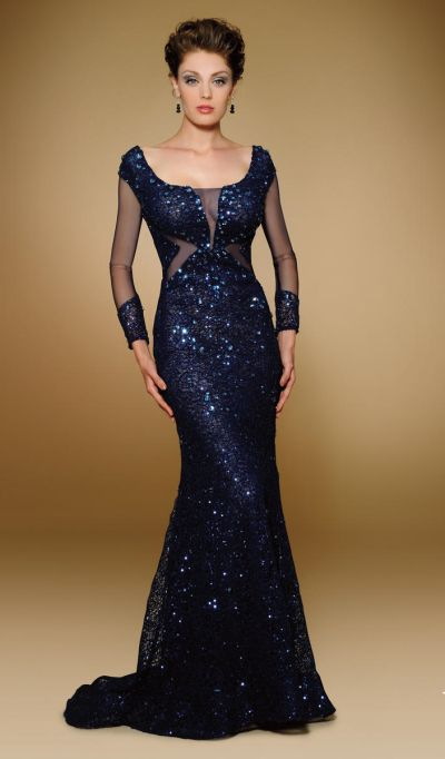 Rina Di Montella 1825 Beaded Stretch Lace Evening Gown