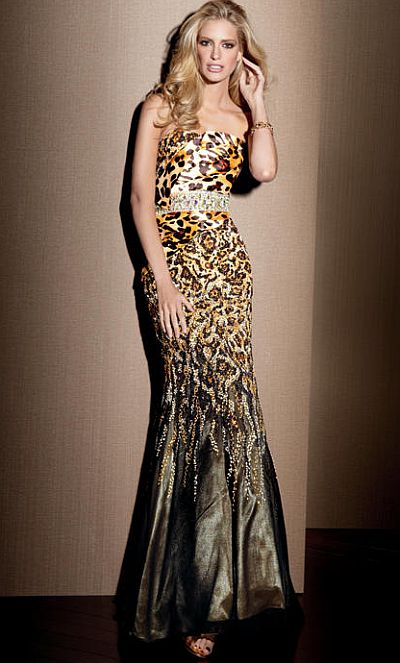 Claudine for Alyce Leopard Print Beaded Mermaid Dress 2039 French Novelty