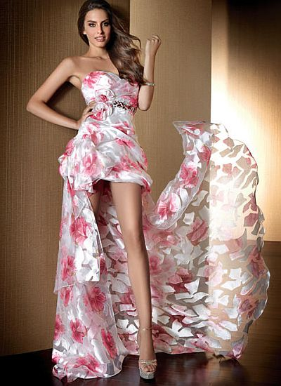 Claudine for Alyce Floral Short Prom Dress with Removable Train 2071 French Novelty