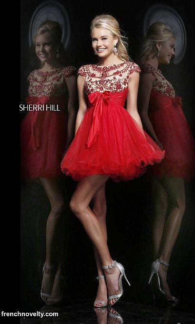 Sherri Hill 21284 Cap Sleeve Sheer Beaded Short Dress