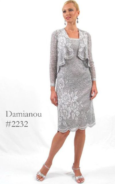 Damianou Floral Short Knit Lace Mother of the Bride Dress 2232 French Novelty