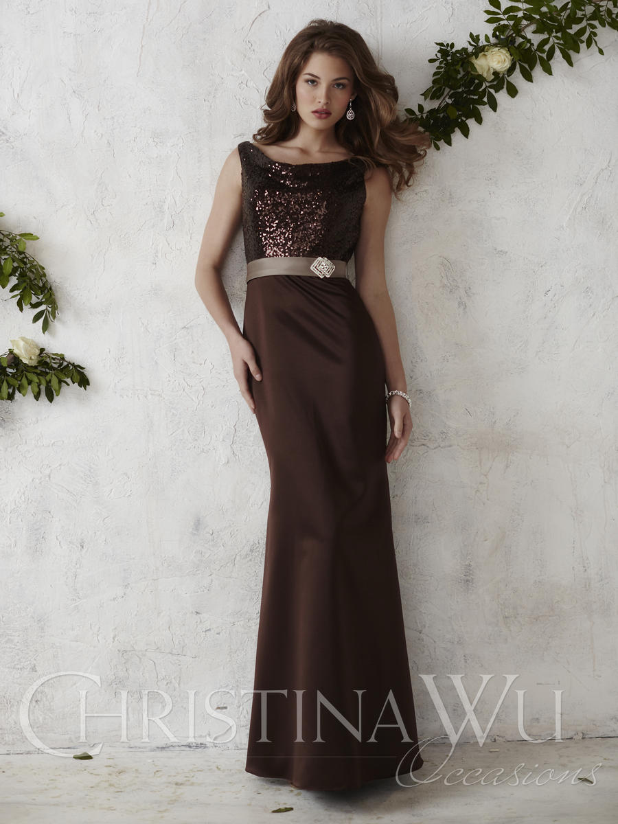 Christina Wu Occasions 22668 Sequin Satin Bridesmaid Gown
