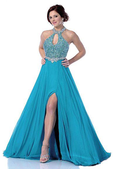 Johnathan Kayne Teal AB Choker Halter Keyhole Prom Dress 253 French Novelty