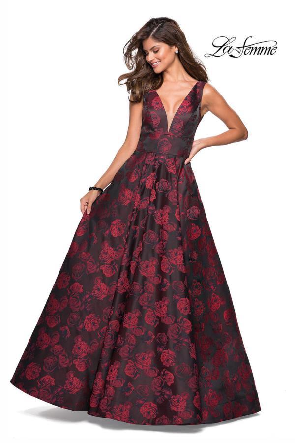 La Femme 27298 Floral Jacquard Prom Dress With Pockets