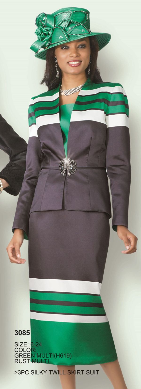 Lily and Taylor 3085 Womens 3pc Church Suit French Novelty