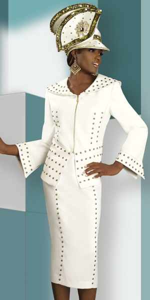 Lisa Rene by Donna Vinci Womens Ivory Church Suit 3172 French Novelty