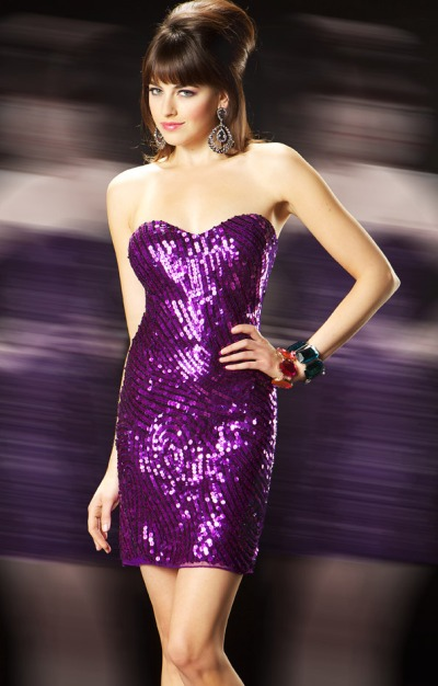MacDuggal Evening Strapless Sequin Cocktail Dress 3458T French Novelty