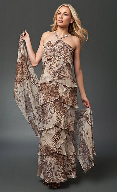 Daymor Couture Print Long Tiered Mother of the Bride Dress