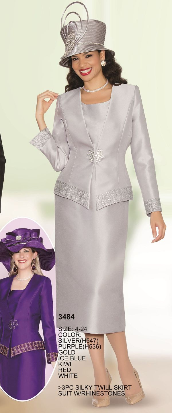 Lily and Taylor 3484 Womens 3 Piece Church Suit French Novelty