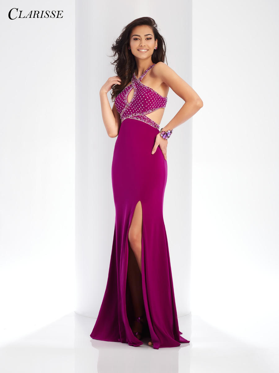 Clarisse 3512 Prom Gown with Cut Outs French Novelty