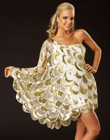 Twelve by Mac Duggal Ivory Gold Asymmetrical Cocktail Dress 3580T French Novelty