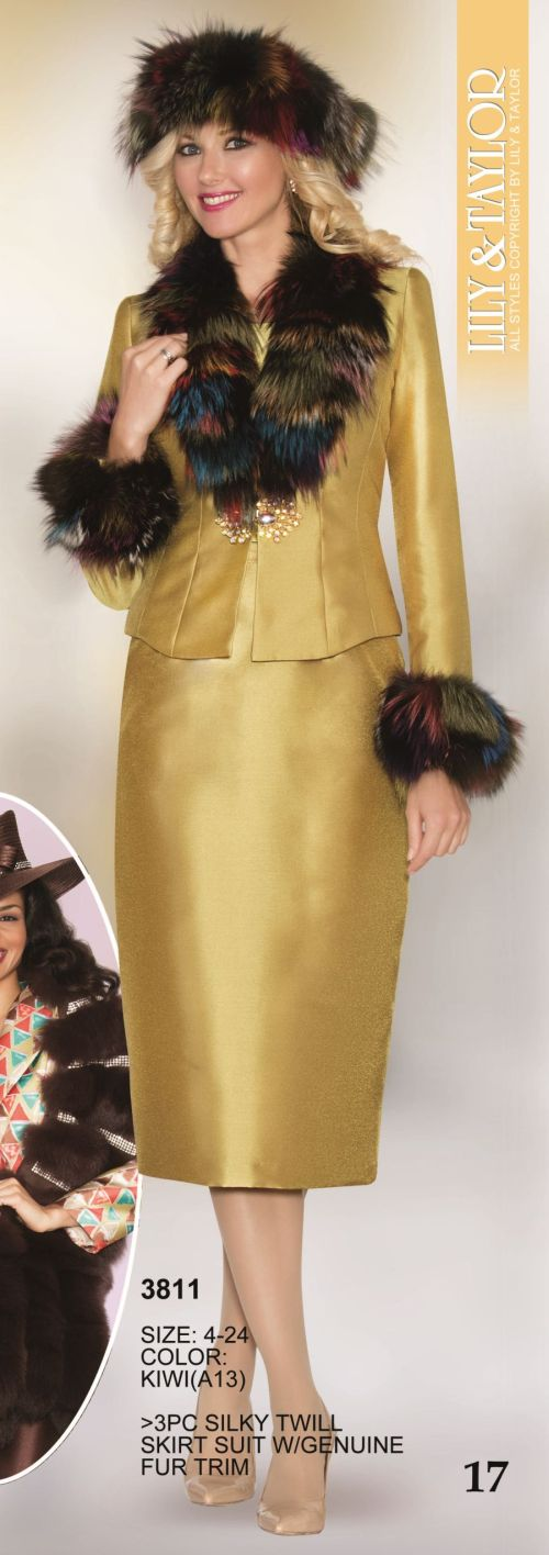 Lily and Taylor 3811 Womens Suit with Genuine Fur Trim