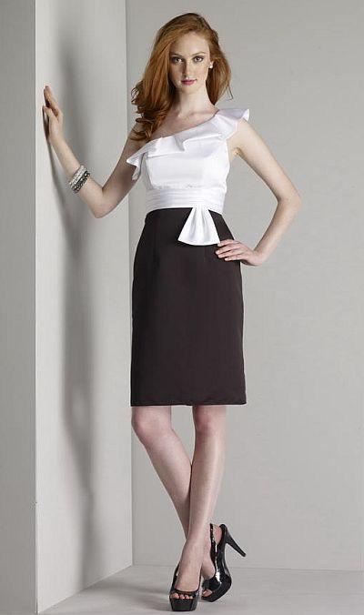 Size 10 BlackWhite Liz Fields Short Satin Bridesmaid Dress 423 French Novelty