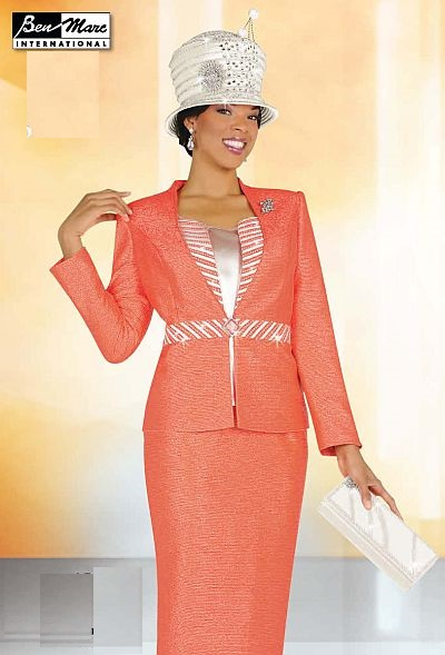 Ben Marc Womens Coral Brocade 3pc Church Suit 47118 French Novelty