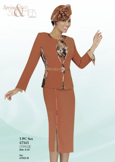 Ben Marc 47343 Womens Orange Church Suit French Novelty