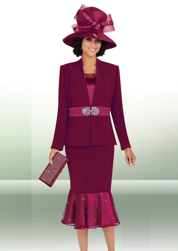 Ben Marc 47653 Womens 3pc Church Suit With Hat - French