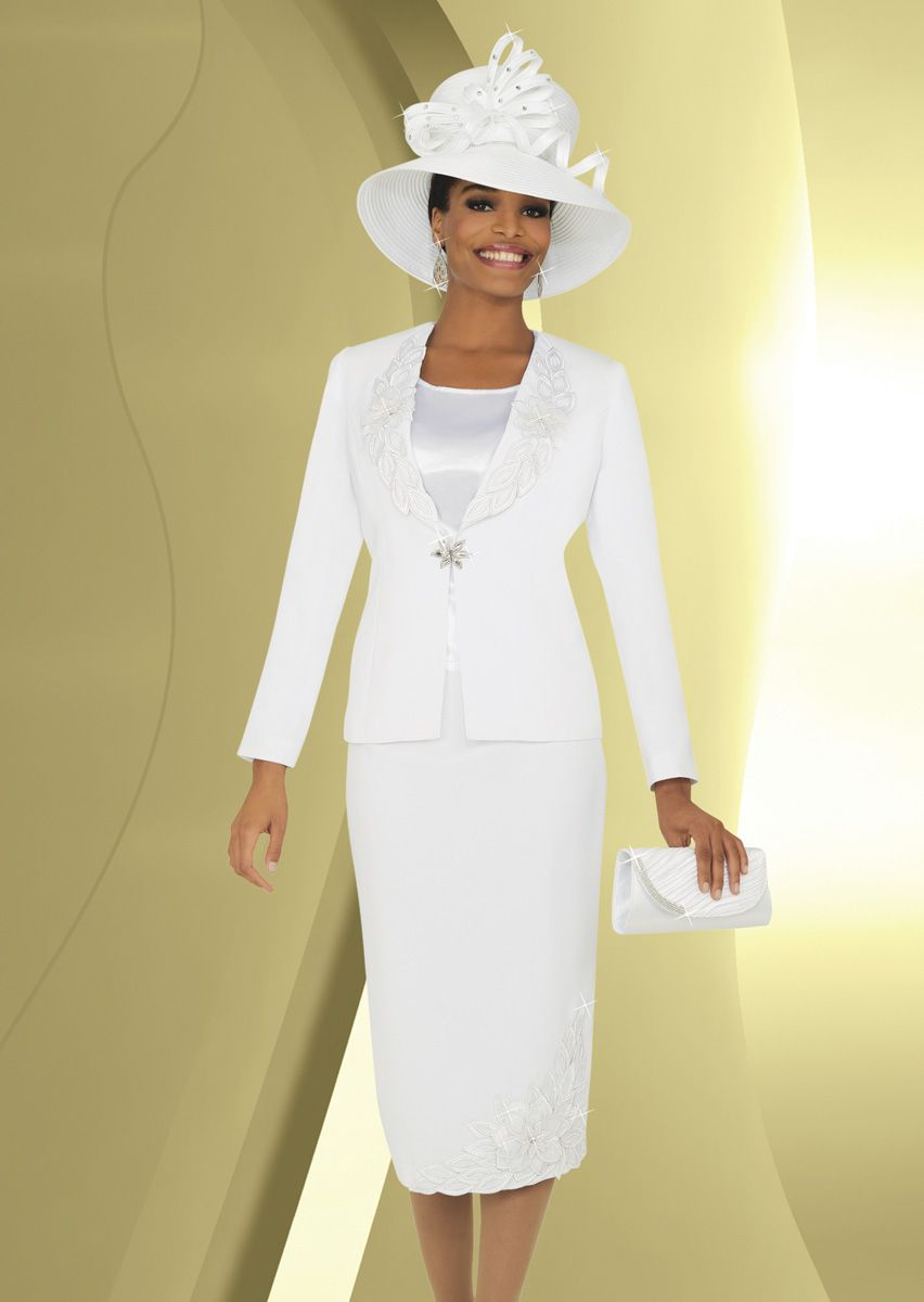 Ben Marc 47762 Womens White Church Suit with Hat French Novelty