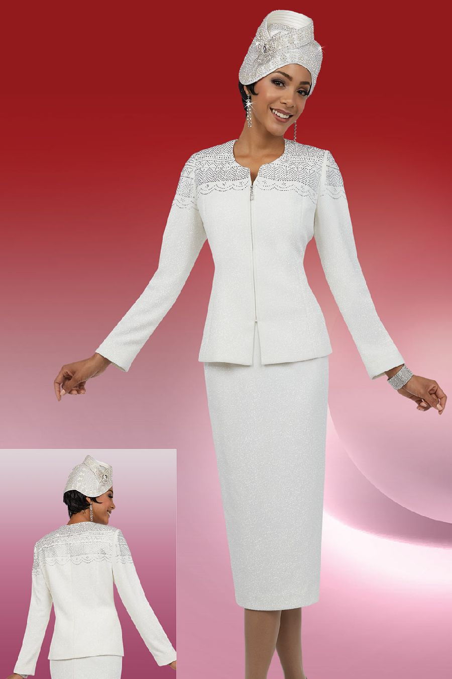 Ben Marc 48058 Ladies Zip Front Knit Church Suit French Novelty