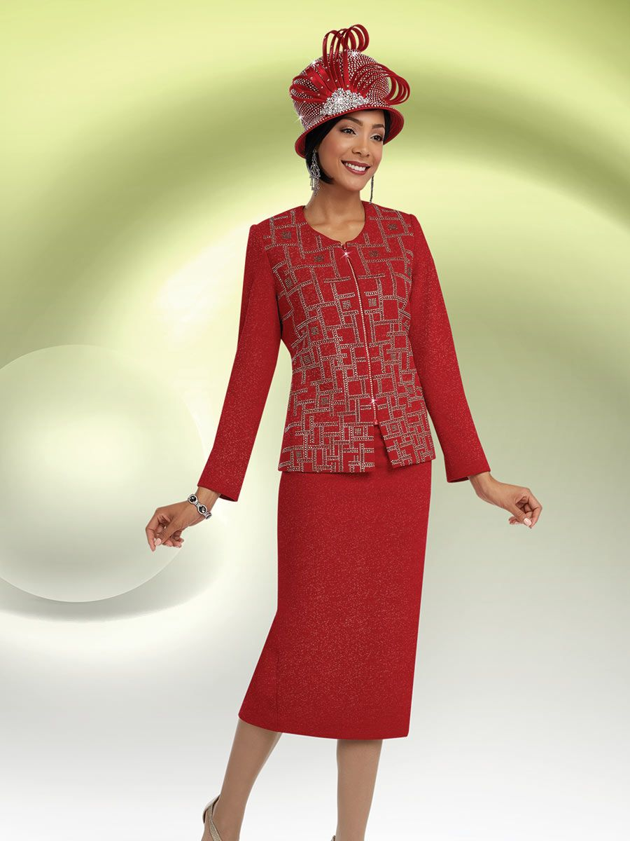 Ben Marc 48059 Womens Red Church Suit French Novelty