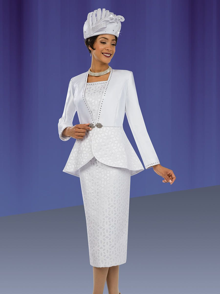 Ben Marc 48064 Womens White Lace Church Suit French Novelty