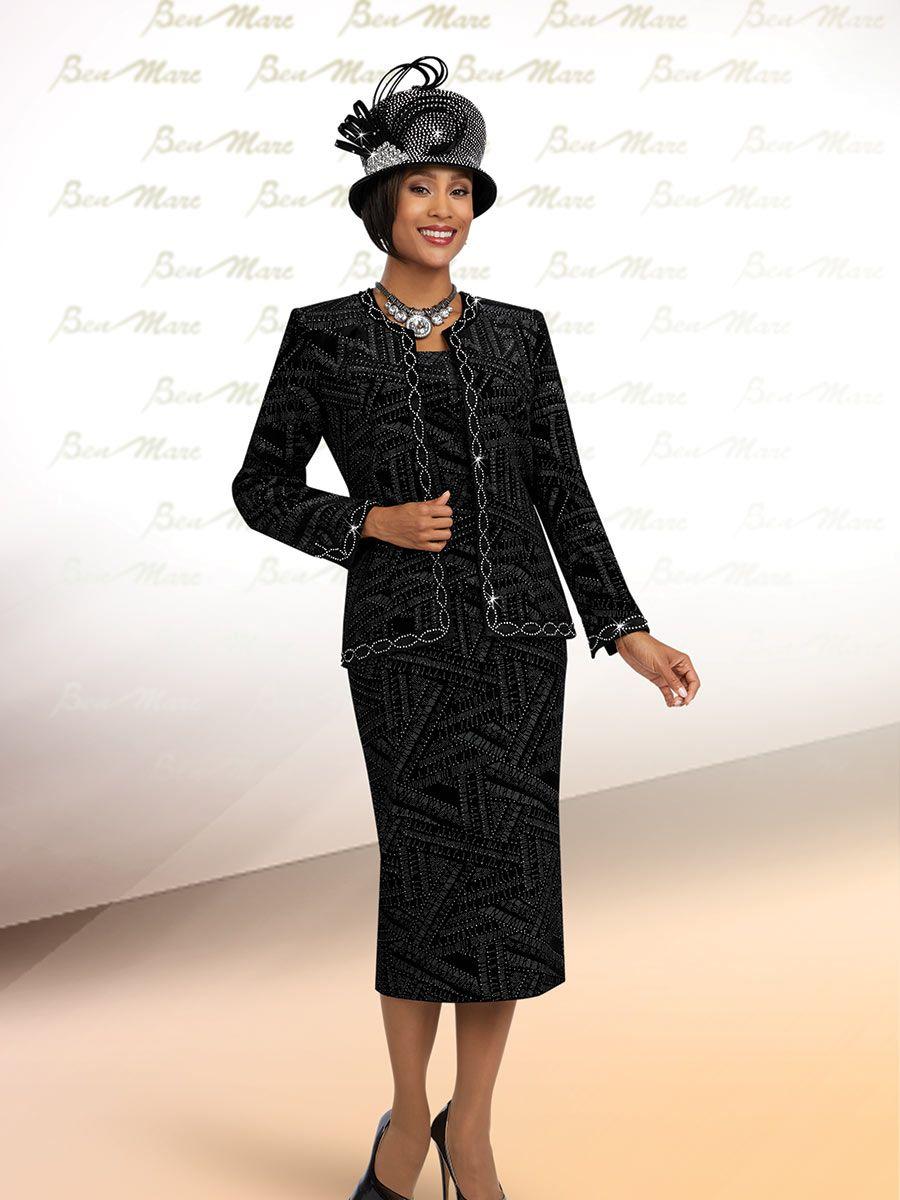 Ben Marc 48069 Womens Black Velvet Church Suit French Novelty