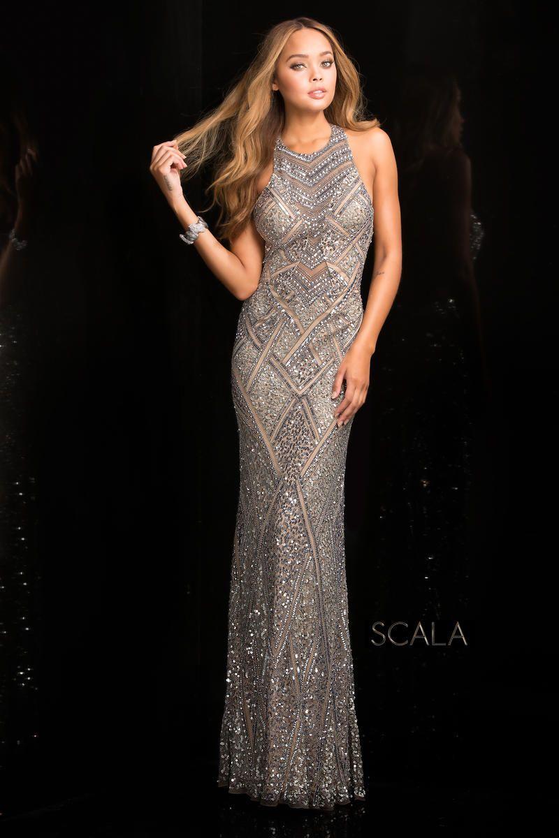 Scala 48688 High Neck Beaded Prom Dress French Novelty