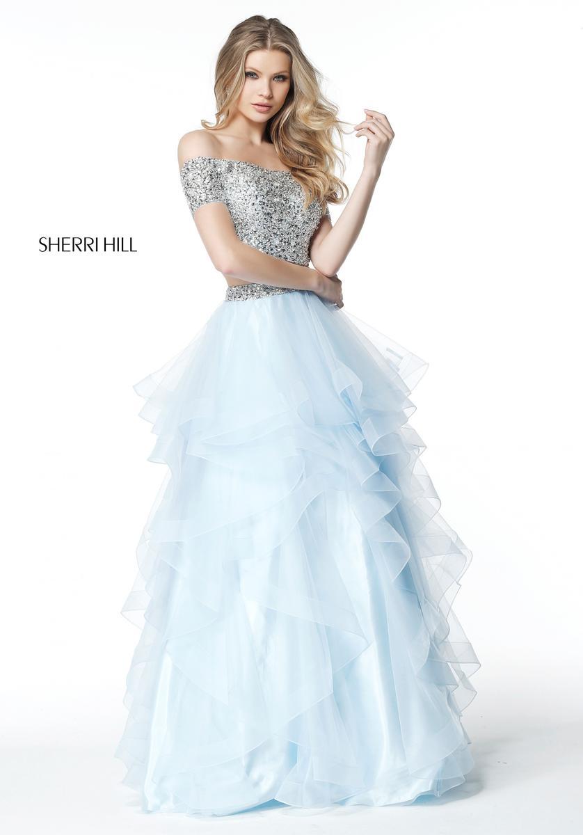 Sherri Hill 51272 Off Shoulder 2pc Beaded Ruffle Gown