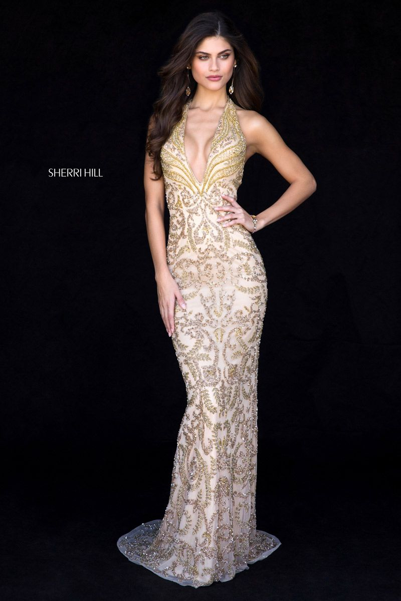 Sherri Hill 51749 Beaded Halter Prom Dress French Novelty