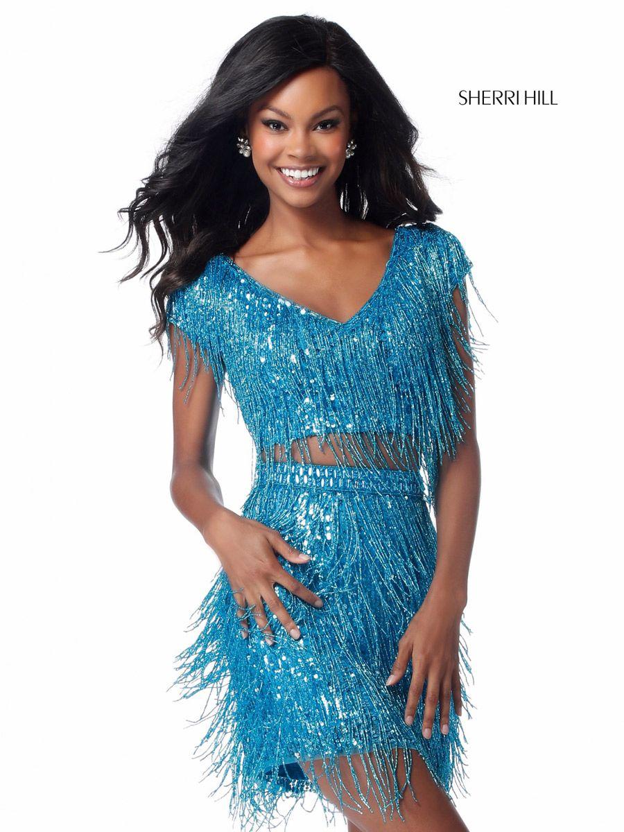 Sherri Hill 51781 Fringe 2 Piece Short Prom Dress French