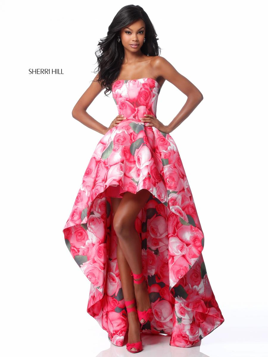Sherri Hill 51791 High Low Floral Prom Dress French Novelty