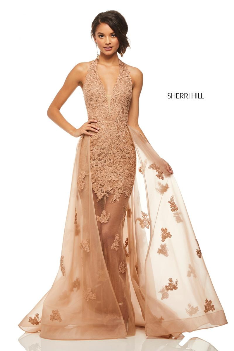 Sherri Hill 52819 Sheer Applique Gown with Overskirt