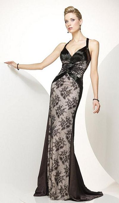 Black Lace Overlay Long Evening Dress Black Label by Alyce