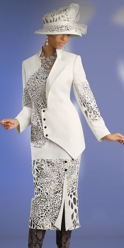Donna Vinci Couture 5400 Womens Ivory Church Suit French