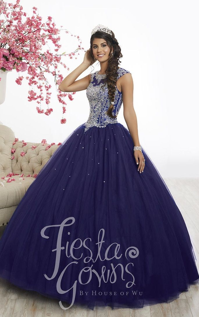 Wu Fiesta 56338 Cap Sleeve Quinceanera Ball Gown French