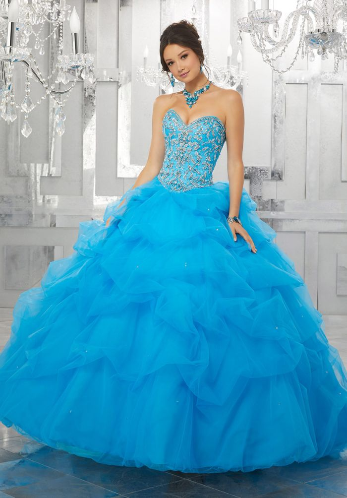 Valencia 60025 Ruched Tulle Quinceanera Dress with