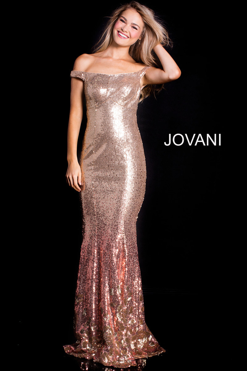 Jovani 60503 Off Shoulder Sequin Prom Gown French Novelty