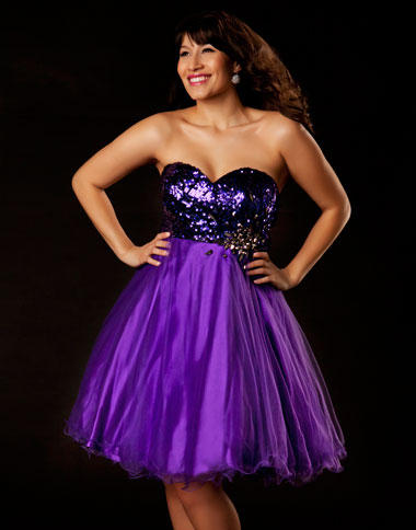 Mac Duggal Purple Plus Size Short Homecoming Dress 64266F French Novelty