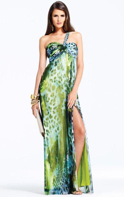 Faviana Green Jungle Print Prom Dress 6903 French Novelty