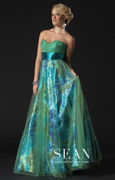 Sean Couture Green Print Ball Gown for Prom 70580 French Novelty