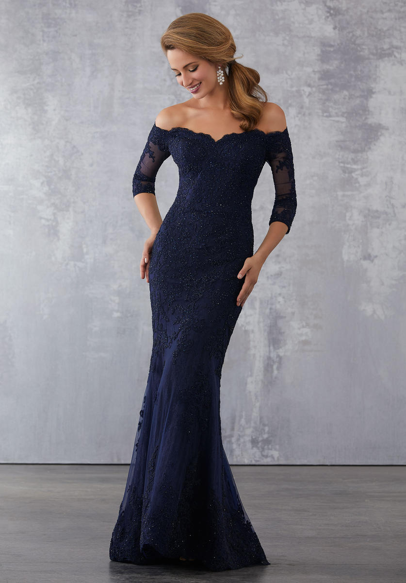 MGNY By Morilee 71731 Off The Shoulder Lace Mothers Gown