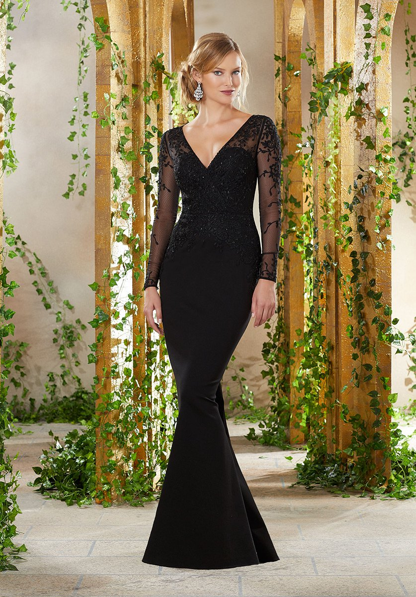 MGNY by Morilee 71910 Long Sleeve V Neck Mothers Gown