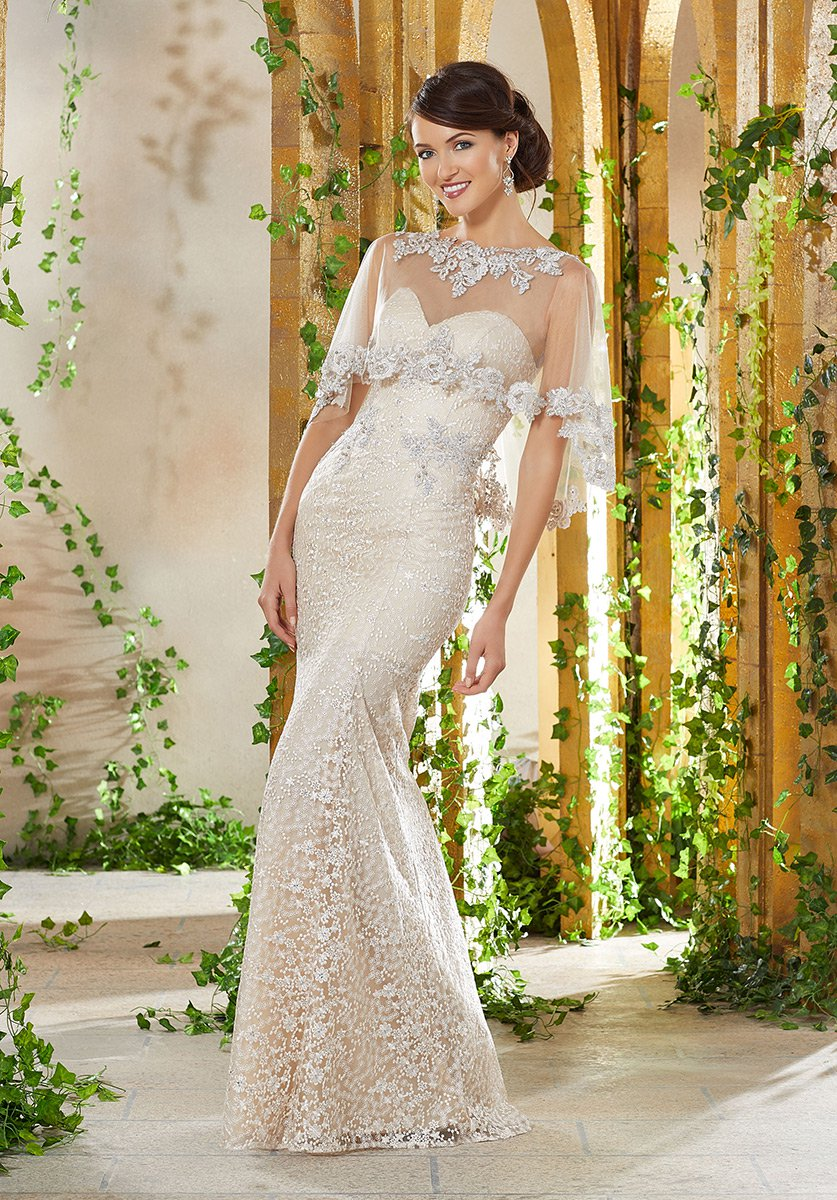 MGNY by Morilee 71936 Beaded Lace Gown with Sheer Cape