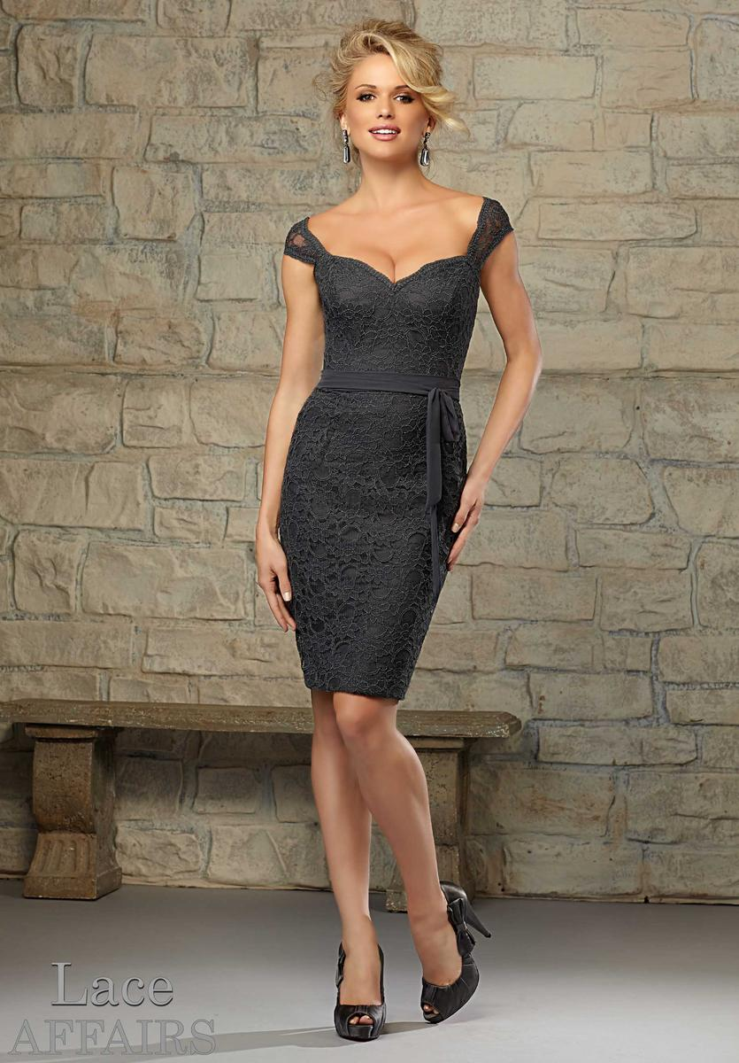 Mori Lee Affairs 722 Lace Short Fitted Bridesmaid Dress French Novelty