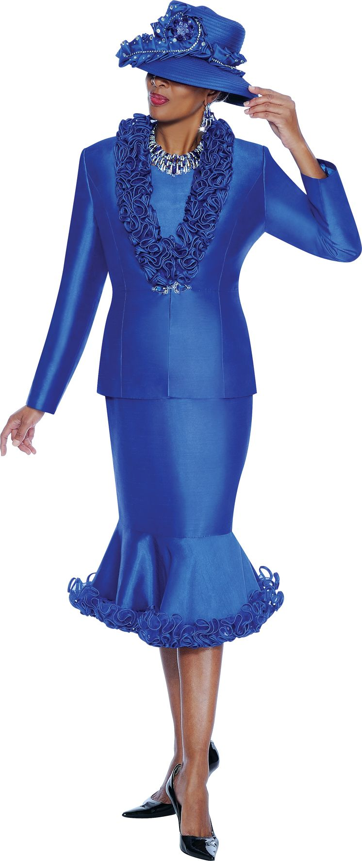 Terramina 7458 Womens Church Suit with Ruffles French Novelty