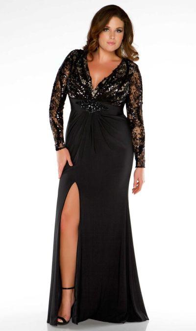 Fabulouss 76457F Plus Size Illusion Long Sleeve Evening Dress French Novelty