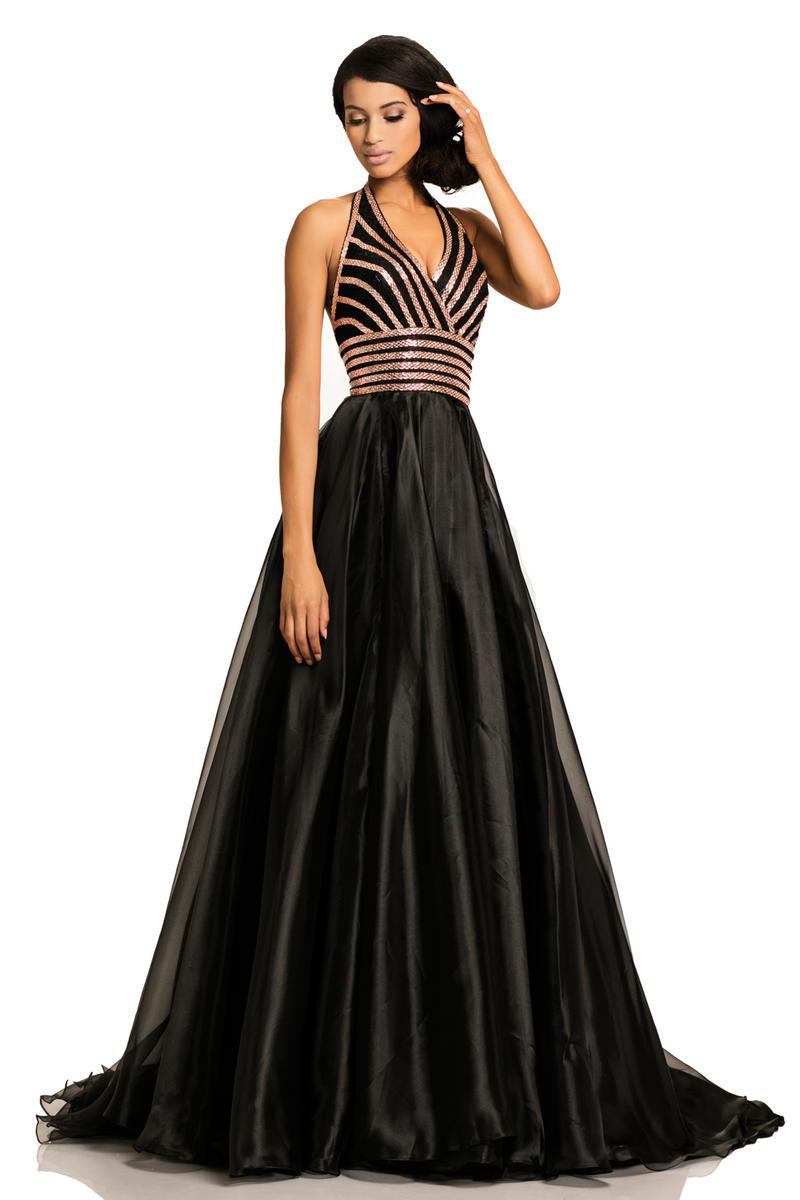 Johnathan Kayne 8017 Halter Gown with Organza Skirt